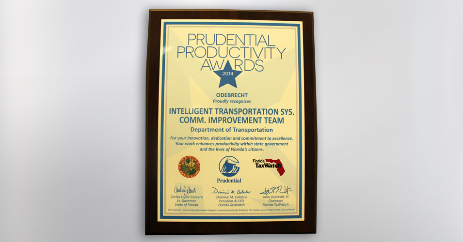 2014 Prudential Productivity Award - ITS Communications Improvement Team for I-95