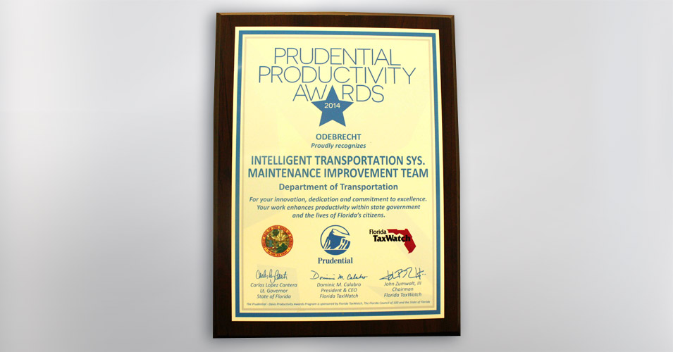2014 Prudential Productivity Award Intelligent Transportation Syst Maintenance Improvement Team