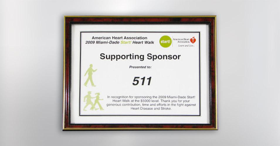 American Heart Association Sponsor Award