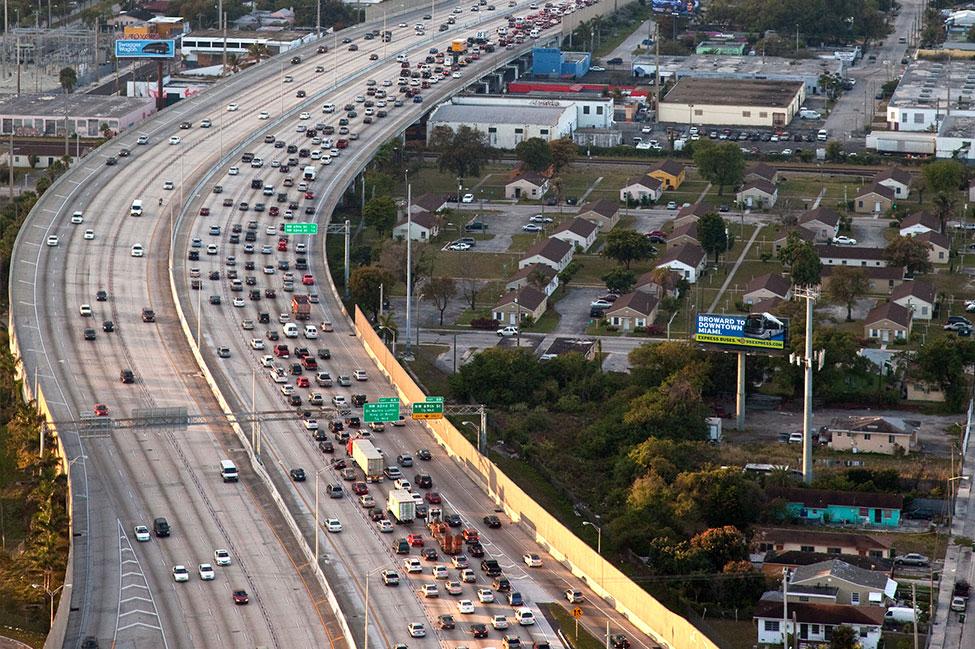 Express lane aerial view