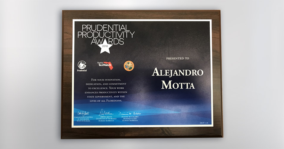 Prudential Productivity Award Alejandro Motta 95 express