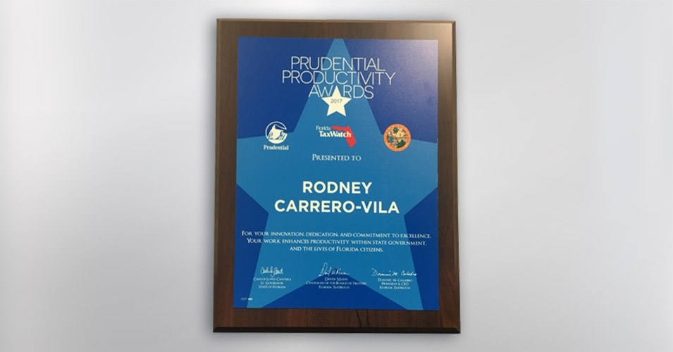 Prudential Productivity Award Rodney Carrero-Vila 2017