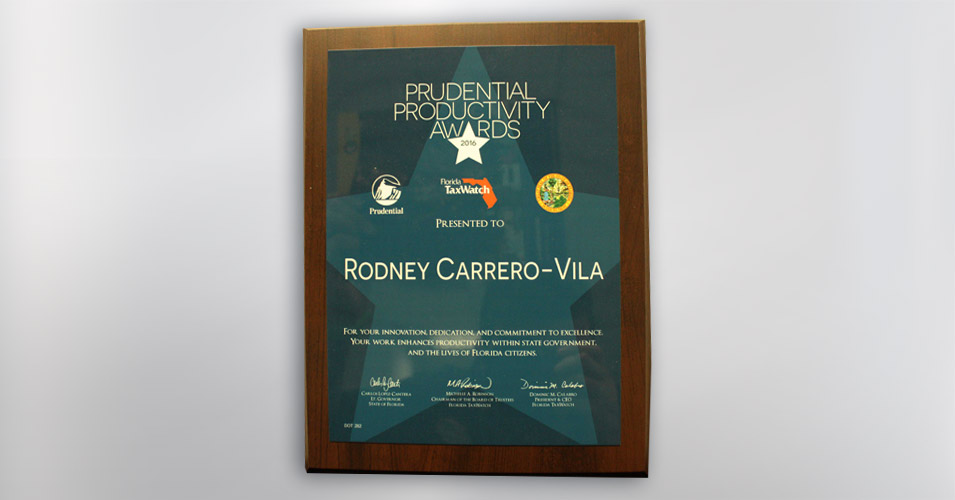 Prudential Productivity Award Rodney Carrero-Vila
